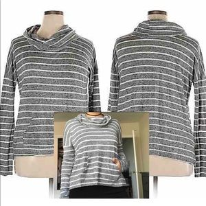 City Streets Cowl Neck Sweater Grey Stripes Pocket